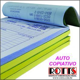 AUTO COPIATIVO NUMERADO Papel Offset 53g/m² 14,8x21 cm 1x0  Blocagem 50x2 vias, Numeração, Serrilha, Grampo e Refile
