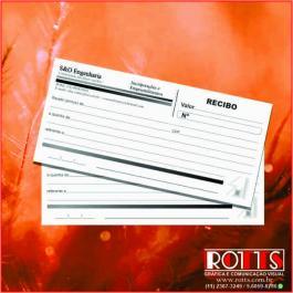 BLOCOS DE RECIBO Offset 75g/m² 10x20 cm 1X0 Sem Revestimento Blocagem 100x1 Via