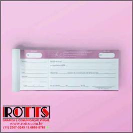BLOCOS DE RECIBO Offset 90g/m² 10x20 cm 4X0 Sem Revestimento Blocagem 100x1 Via