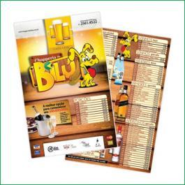 CARDÁPIOS PLASTIFICADOS PLÁSTICO COMPACTO PLÁSTICO COMPACTO 50grs Sangria: 210x300mm  Final do material: 207x297mm 4x4  CANTEADO