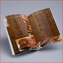 CARDÁPIOS 8 PÁGINAS COM DOBRA COUCHÊ 275G 275g sangria: 210x300mm   final do material: 207x297mm 4x4 DOBRA DIGITAL 8 PAGINAS, GRAMPO