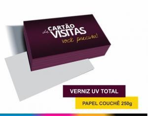 Cartão 4x0 cores Couchê 250g/m² 4,8x8,8 cm 4x0 Verniz Total Brilho Corte reto