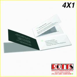 Cartão 300g/m²  4X1 CORES Couchê 300g/m² 4,8x17,7 4x1 Verniz UV total frente Vinco Central Vinco Central