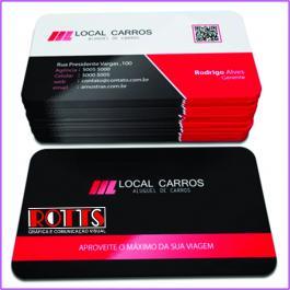 Cartão de visita 4x1 cantos arredondados 250grs 4,6x8,6 cm 4x4 Verniz Total Brilho Frente Refile cantos arredondados