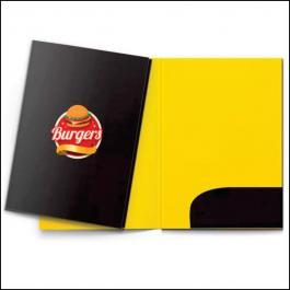 PASTAS Cartão 300g/m² Aberto: 47,3x39,2 cm Fechado: 22x31 cm 4x4 Verniz Total Brilho Frente Corte vinco