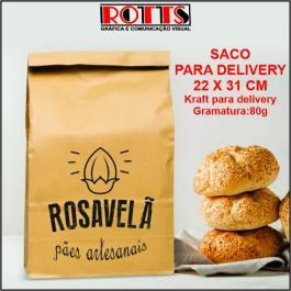 SACO PARA DELIVERY 22X31 CM Kraft para delivery Gramatura: 80g 22X31 CM 1X0