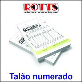TALÃO NUMERADO Papel Offset 56g/m² 10,5x14,8 cm 1X0  Acabamento: Blocagem 50x2 Vias, Numeração, Serrilha, Grampo e Refile