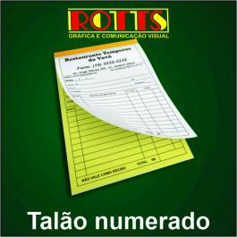 TALÃO NUMERADO Papel Offset 56g/m² 14,8x21 cm 1X0  Acabamento: Blocagem 50x2 Vias, Numeração, Serrilha, Grampo e Refile