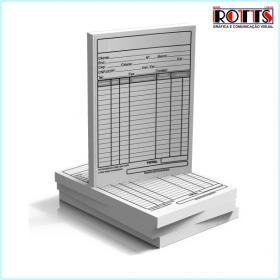 TALÃO SEM NUMERAÇÃO 1x0 cores Papel Offset 56g/m² 7,4x10,5 cm 1x0  Blocagem / Grampo / Serrilha